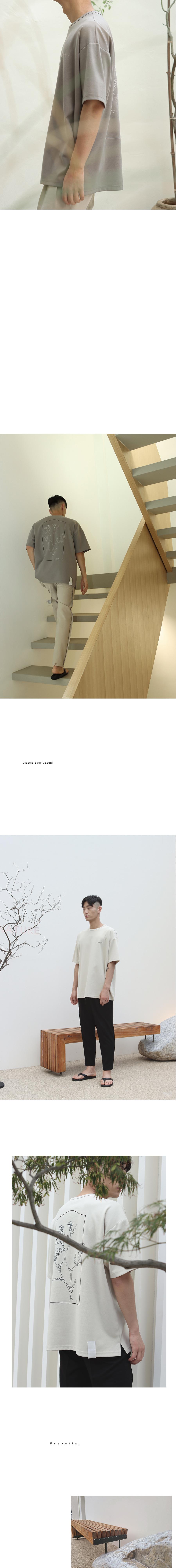 게인스보로(GAINSBORO) 프레임 플라워 엠보더리 티셔츠 블랙