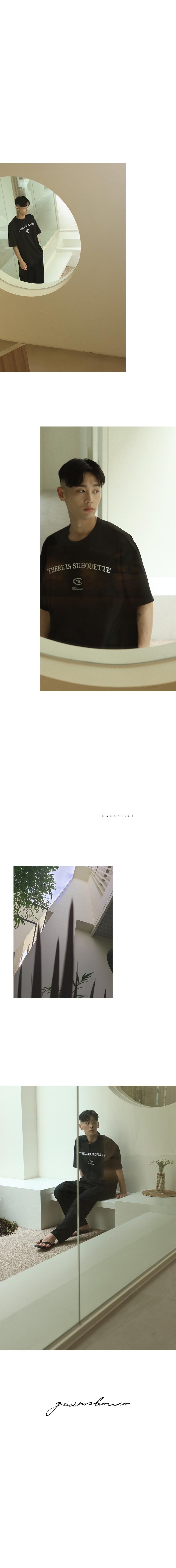 게인스보로(GAINSBORO) 실루엣 엠보더리 티셔츠 블랙